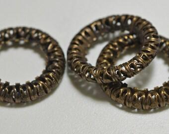Natural brass filigree ring, 24mm - #2089