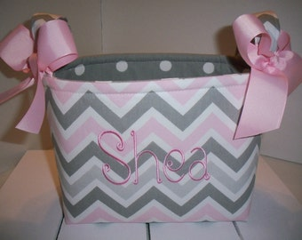 Pink Grey Chevron Organizer bin / Fabric Basket / Small Diaper Caddy -Personalization Available