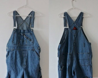 25% OFF SALE Vintage Overall Shorts - Denim Overalls - SQZ Squeeze - Size Large