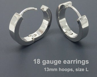 18 gauge earrings, men's hoop earrings, gauged hoop earrings, gauge cartilage earrings, sterling silver hoop earrings, 18G hoop, E190SW 18G