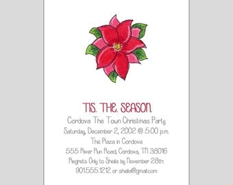 Poinsetta Invitations ~ You print or WE CAN!