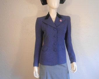 Doing Our Bit for the War - 1940s WW2 Cadet Blue Wool Blend Jacket w/Velvet Collar Moon Crescent Pockets - 4