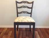 Desk Vanity Chair, Tufted Embroidered Upholstered Seat, Detailed Distressed Water Based Stained Wood Accent Chair, Extra Seating