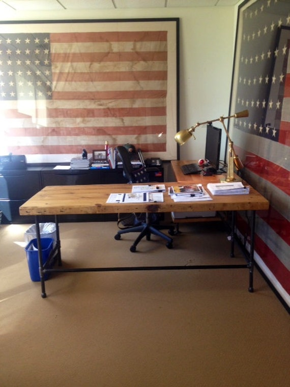 Shape desk made of reclaimed wood with pipe legs or square steel ...