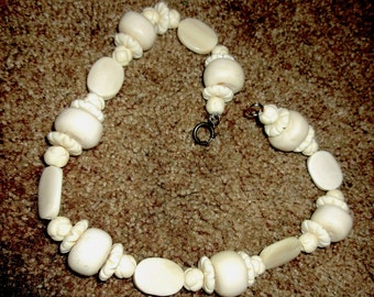 Chinese Export Carved Bone Necklace, Rare Find
