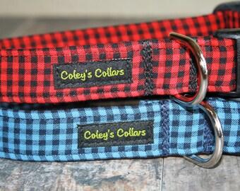 "Mini Buffalo Plaid Dog Collar ""The Bennett Collection"" Gingham Plaid Dog Collar"
