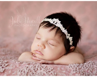 Baby Crown, Mini Rhinestone Crown, Silver Crown, Baby Girl Crown, Baby Tiara, Baby Props, Photo Prop, Newborn Props, Baby Girl Props, RTS