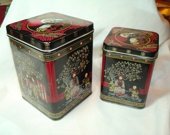 Vintage Made in ENGLAND Black and Red Asian Themed Set of Biscuit Cookie Tea Tins.