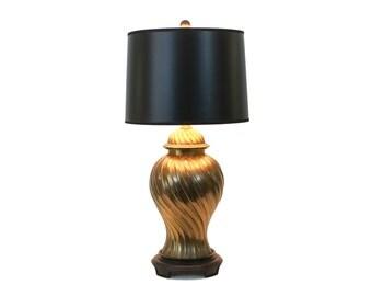 Asian Modern Brass Ginger Jar Lamp Hollywood Regency