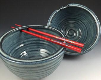 Rice Bowl Set - Pair of 2 Handmade Bowls - Chopstick, Noodle Bowls - Pottery Bowls in our Denim Blue Glaze