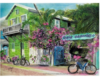 Key West Limited Edition Fine Art Painting Print Blue Heaven Restaurant Bar