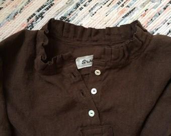 SALE Was 165.00 NOW 125.00 Linen Prairie Dress Brown Linen Night Dress Lagenlook In Stock Med Lrg
