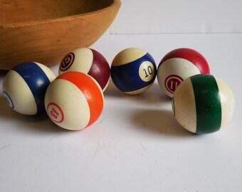 Six vintage Pool Billiard balls Striped Variety Standard size 10, 11, 13, 14, 15 Blue Orange Green Red Burgundy Maroon