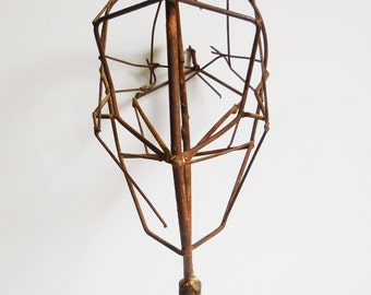 Vintage head form stand Artist sculpture Model Brutalist art Metal wire on pole Table mount display supplies