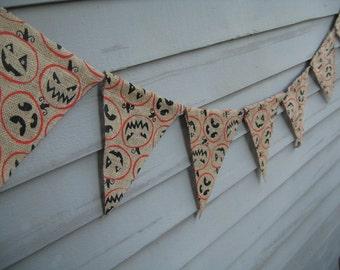 Halloween Burlap Pennant Banner, Printed Jack O Lanterns