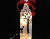 """Lighted Wine Bottle Deer Cardinal Frosted Hand Painted 11 1/2"""" H x 3"""" Dia. 750ml"""
