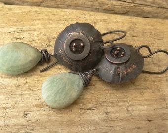 Rustic Copper Amazonite Briolettes Earrings