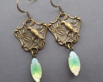 Bird Earrings - Bird Jewelry - Birds of Paradise - Nature Jewelry - Rhinestone Earrings - Romantic Jewelry - Vintage Style Jewelry
