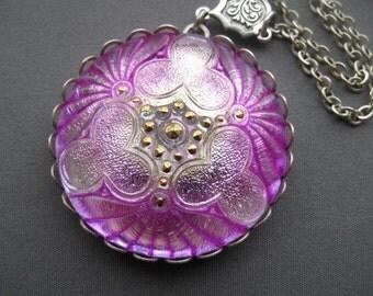 Flower Necklace - Glass Necklace - Purple Jewelry - Purple Necklace - Flower Jewelry - Romantic Jewelry - Czech Glass - Romantic Necklace