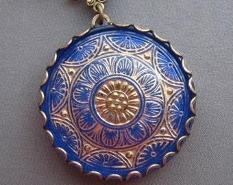 Bohemian Necklace - Blue Necklace - Boho Jewelry - Blue Jewelry - Mosaic Jewelry - Glass Necklace - Boho Chic - Beach Jewelry - Czech Glass