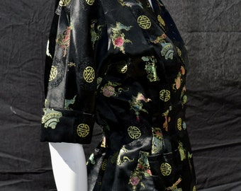vintage 50's tailored sexy bombshell chinese satin jacket size 6, Va va voom pin up oriental fitted rockabilly high fashion by thekaliman