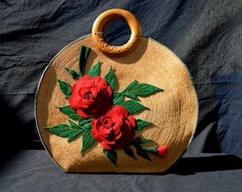 Vintage 60's NOS never used handmade straw wicker koon ah factory Hong Kong felt applique flowers by thekaliman