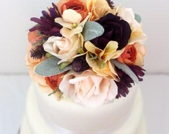 Wedding Cake Topper - Blush Rose, Purple Mum, Rose, Apricot Hydrangea, Lambs Ear Silk Flower Cake Topper, Wedding Cake Flowers