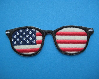SALE~ Iron-on Embroidered Patch Glasses USA 3.1 inch