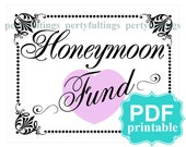 INSTANT DOWNLOAD- 8 x 10 Honeymoon Fund---Printable PDF File