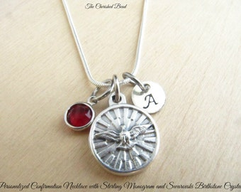 Catholic Confirmation Personalized Necklace with Holy Spirit Charm, Swarovski Birthstone Crystal and Sterling Monogram Initial Charm