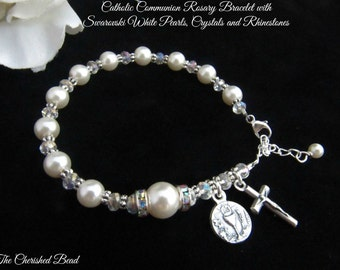 Traditional Catholic First Communion Rosary Bracelet with Swarovski Pearls, Crystals and Rhinestones