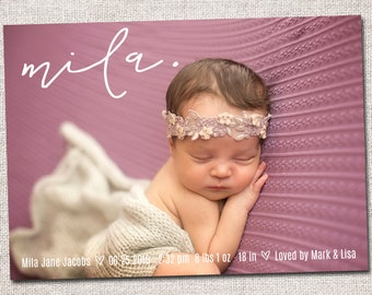 Birth announcement, baby girl announcement, baby announcement, modern birth announcement, printable, girl birth announcement  (Mila)