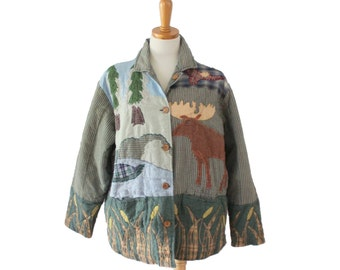 Vintage 90s Moose Pattern Arts and Crafts Style Jacket // Patch Magic Inc // Women One Size