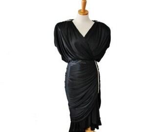 30% off sale // Vintage 70s Does 30s Black Satin Rhinestone Dress // Women Medium // made in America, formal, prom
