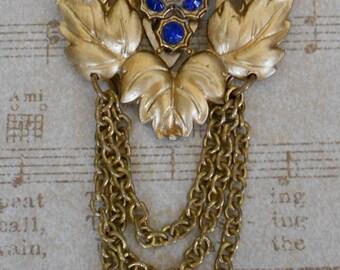 1930's Gold Leaf Jeweled Dress Clip
