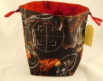 Black Widow drawstring bag perfect for dice, toys, gifts, cards, game components and so much more!!
