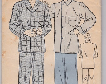 1940s Vintage Sewing Pattern, Mens Pajamas, Advance 9900, chest size 34, waist 30 SALE