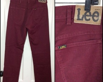 Vintage Lee 200 Sta-Prest staright leg jeans, label reads 32X34, measures 31x34 Burgundy red Union made in USA Boyfriend jeans