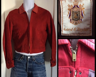 1930's Antique Suede Leather Motorcycle Car Jacket looks size M Lord and Taylor Bakelite Buttons Talon Zipper grommet zipper
