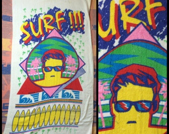 1980's SURF!!! Beach Towel all cotton New Wave Surfer Dude abstract surfboards palm trees by Franco