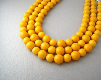 Yellow Statement Necklace, Chunky Multi Strand Bead Necklace, Mustard Yellow Necklace, Beaded Choker Necklace, Statement Necklaces Under 50