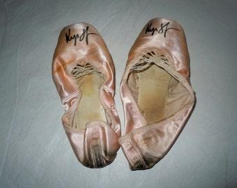 Vintage Pink satin Ballet Toe Shoes signed