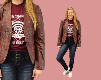Leather blazer jacket vintage 1970s oxblood casual indie 90s grunge hipster jacket small medium IngridIceland