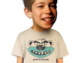 grin and bear it t-shirt kids funny animal t-shirt humorous grizzly bear t-shirt grinning black bear boys nerdy geeky t-shirt s m l xl