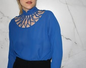 Vintage 80's Blue Blouse