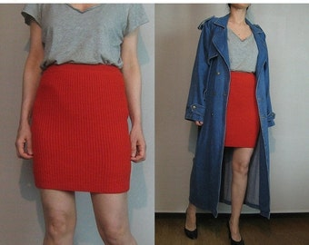 SUMMER SALE 80s FRANCE Wool Knit Vintage Cherry Red Ribbed Knitted Sweater Mini Fitted Skirt Paris Une Made in France Serge Castella xs Smal
