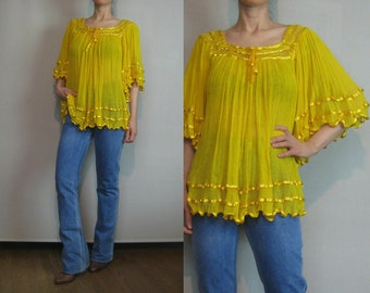 70s COTTON GAUZE Vintage Golden Gold Yellow Angel Bell Sleeve Indian Sheer Crochet Blouse Shirt Top xs Small Medium 1970s 1980s