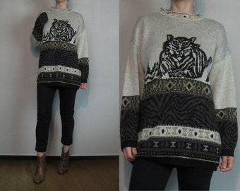 80s TIGER CAT NOVELTY vtg Face Grass Stripes Metallic Gold Black Sand Mocha Knit Tunic Sweater xs Small s/m 1980s