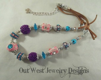 Western Cowgirl Necklace Set - Chunky Pink - Purple and Teal Kashmiri Beads with Crystal and Leather