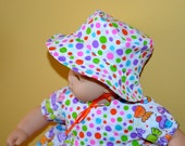 15 Inch Baby Doll Polka Dot and Candy Print Dress Style Top, Short Pants and Bucket Hat by SEWSWEETDAISY